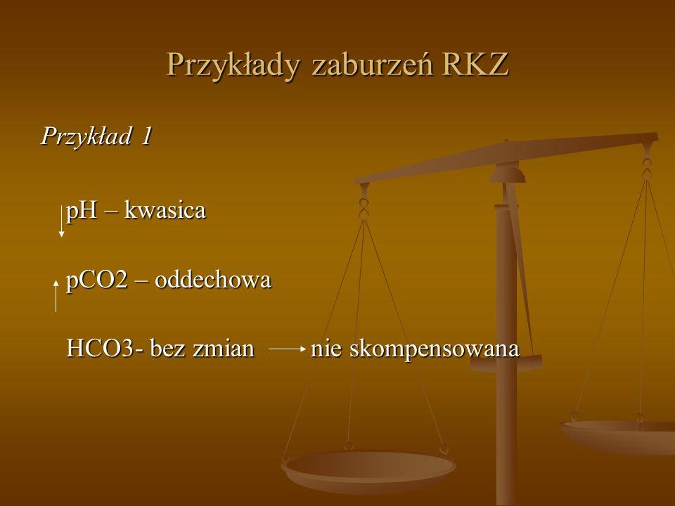 Przykłady zaburzeń RKZ Przykład 1 pH – kwasica pCO2 – oddechowa HCO3- bez zmian nie skompensowana