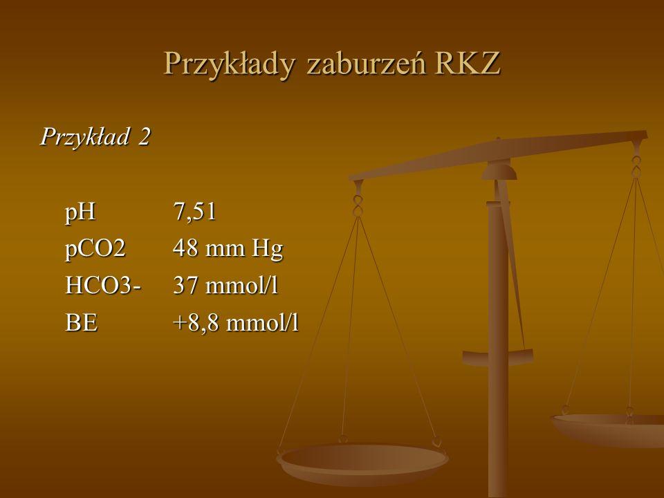 Przykłady zaburzeń RKZ Przykład 2 pH7,51 pCO248 mm Hg HCO3-37 mmol/l BE+8,8 mmol/l