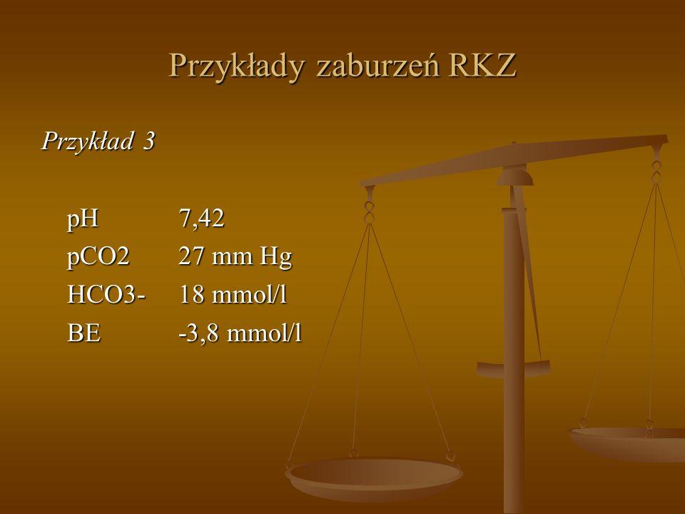 Przykłady zaburzeń RKZ Przykład 3 pH7,42 pCO227 mm Hg HCO3-18 mmol/l BE-3,8 mmol/l