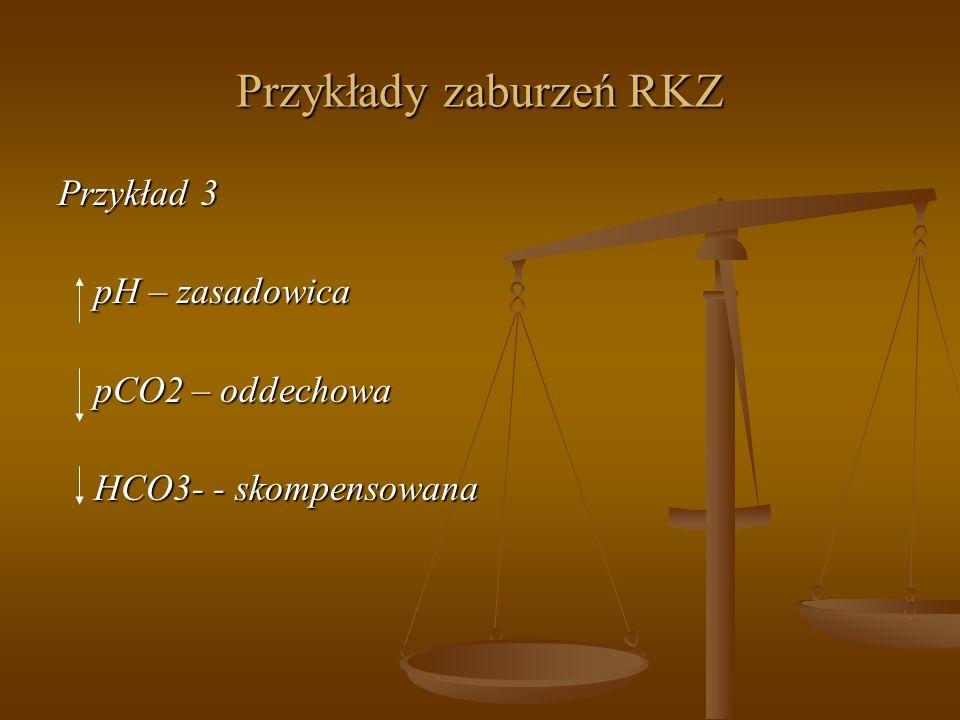 Przykłady zaburzeń RKZ Przykład 3 pH – zasadowica pCO2 – oddechowa HCO3- - skompensowana