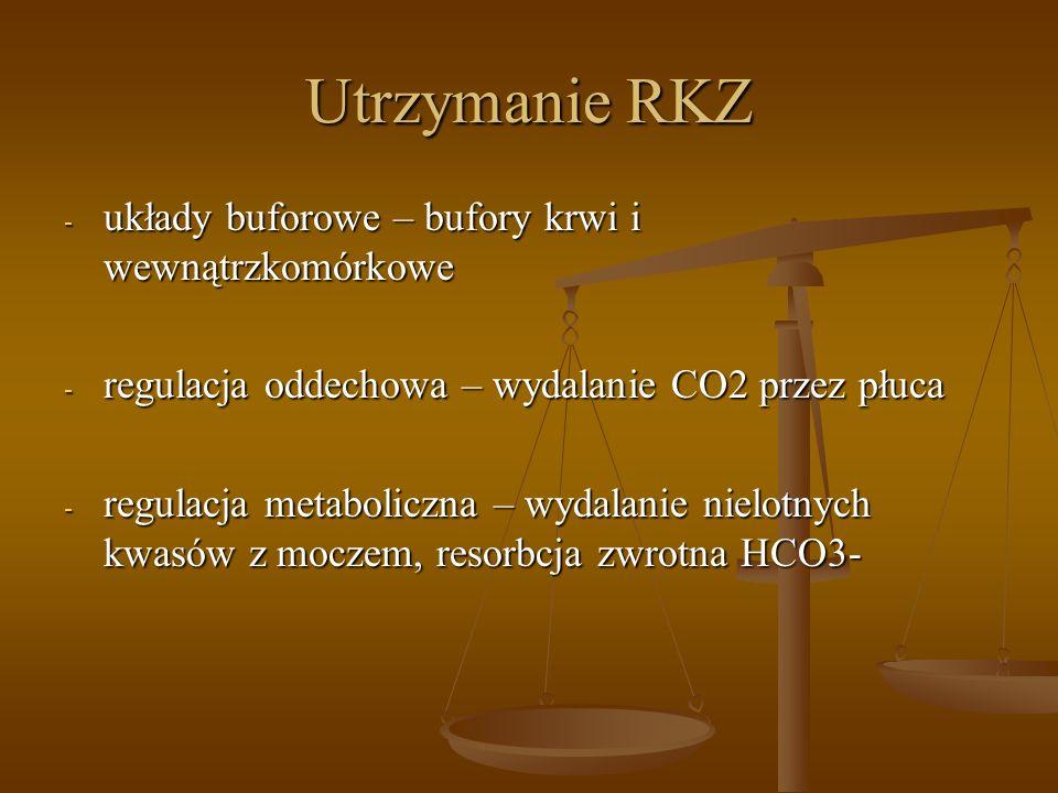 Utrzymanie RKZ - układy buforowe – bufory krwi i wewnątrzkomórkowe - regulacja oddechowa – wydalanie CO2 przez płuca - regulacja metaboliczna – wydala