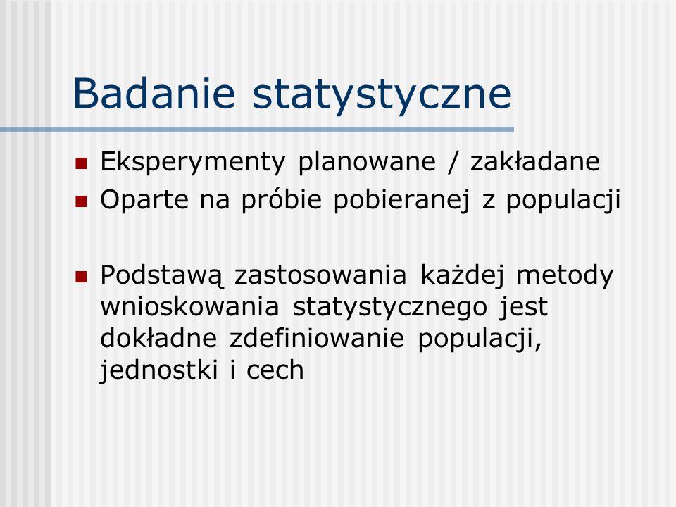 Badanie statystyczne Eksperymenty planowane / zakładane Oparte na próbie pobieranej z populacji Podstawą zastosowania każdej metody wnioskowania staty