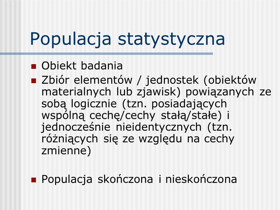 Populacja statystyczna Obiekt badania Zbiór elementów / jednostek (obiektów materialnych lub zjawisk) powiązanych ze sobą logicznie (tzn. posiadającyc