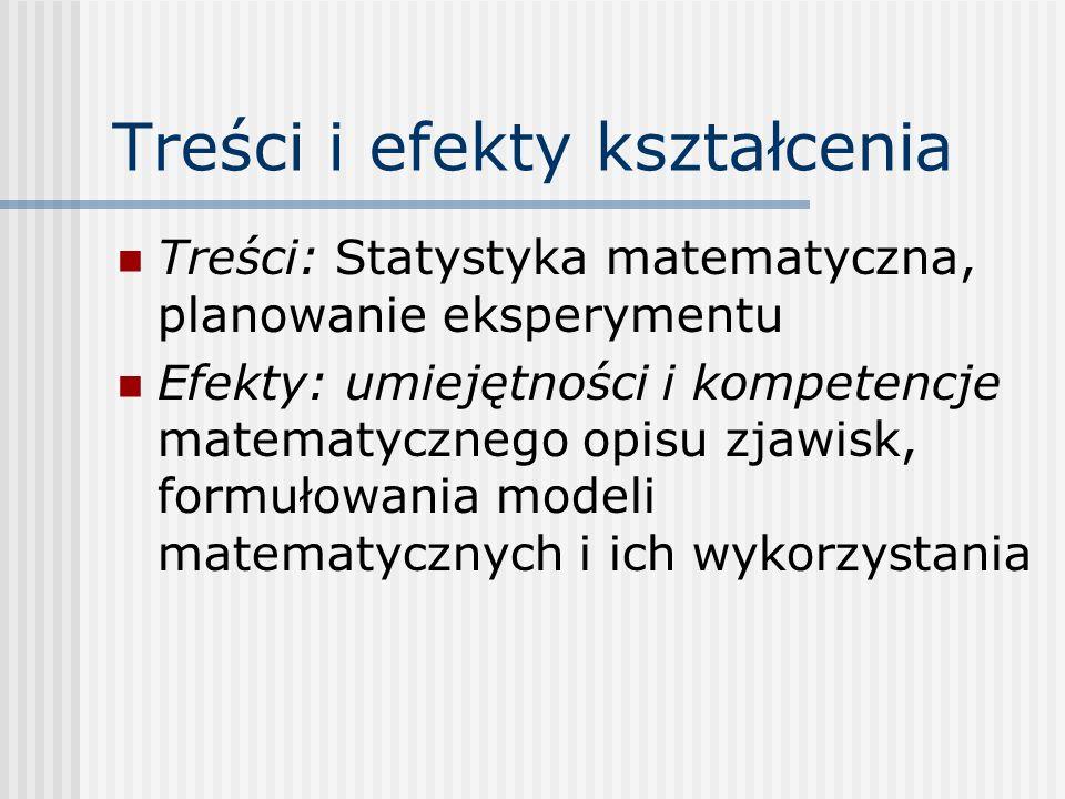 Treści i efekty kształcenia Treści: Statystyka matematyczna, planowanie eksperymentu Efekty: umiejętności i kompetencje matematycznego opisu zjawisk,