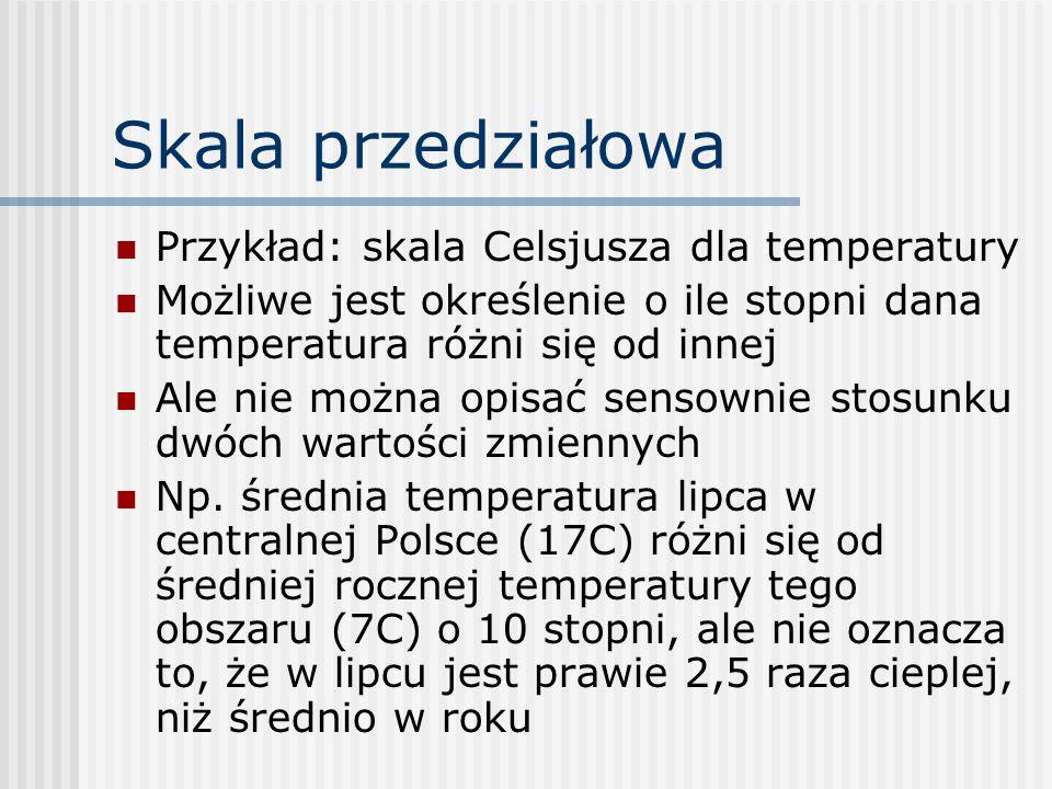Skala przedziałowa Przykład: skala Celsjusza dla temperatury Możliwe jest określenie o ile stopni dana temperatura różni się od innej Ale nie można op