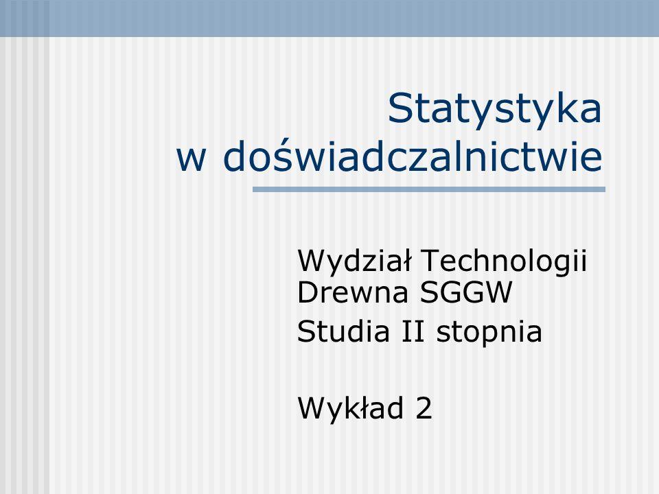 Statystyka w doświadczalnictwie Wydział Technologii Drewna SGGW Studia II stopnia Wykład 2