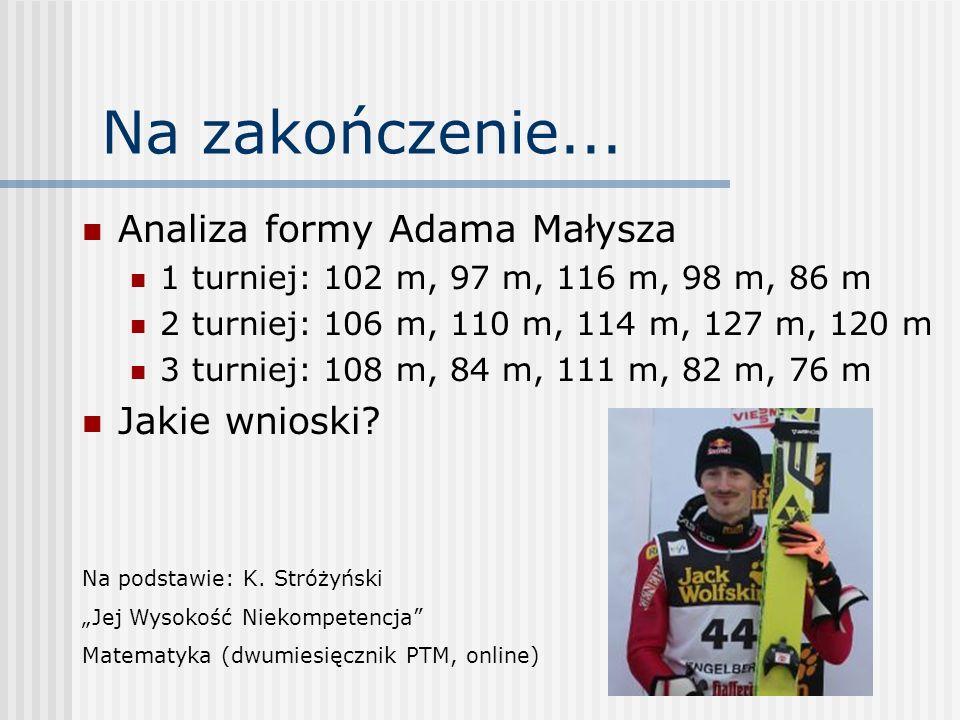 Na zakończenie... Analiza formy Adama Małysza 1 turniej: 102 m, 97 m, 116 m, 98 m, 86 m 2 turniej: 106 m, 110 m, 114 m, 127 m, 120 m 3 turniej: 108 m,