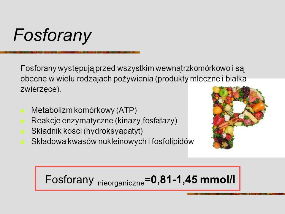 Fosforany Fosforany występują przed wszystkim wewnątrzkomórkowo i są obecne w wielu rodzajach pożywienia (produkty mleczne i białka zwierzęce). Metabo