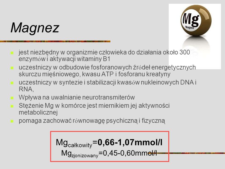 Magnez jest niezbędny w organizmie człowieka do działania około 300 enzym ó w i aktywacji witaminy B1 uczestniczy w odbudowie fosforanowych źr ó deł e