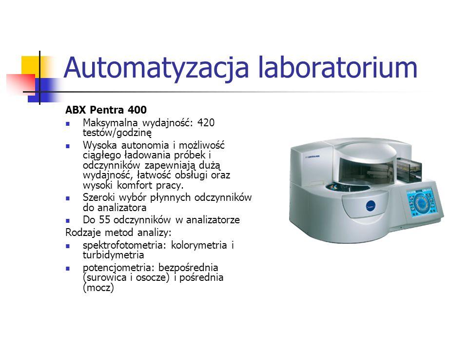 ABX Pentra 400 Maksymalna wydajność: 420 testów/godzinę Wysoka autonomia i możliwość ciągłego ładowania próbek i odczynników zapewniają dużą wydajność