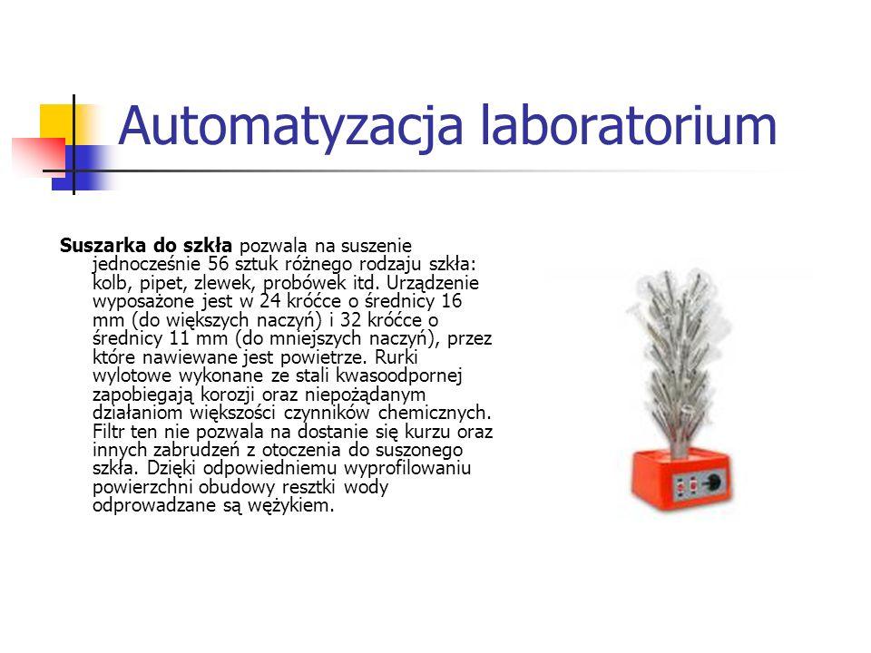 Automatyzacja laboratorium Suszarka do szkła pozwala na suszenie jednocześnie 56 sztuk różnego rodzaju szkła: kolb, pipet, zlewek, probówek itd. Urząd