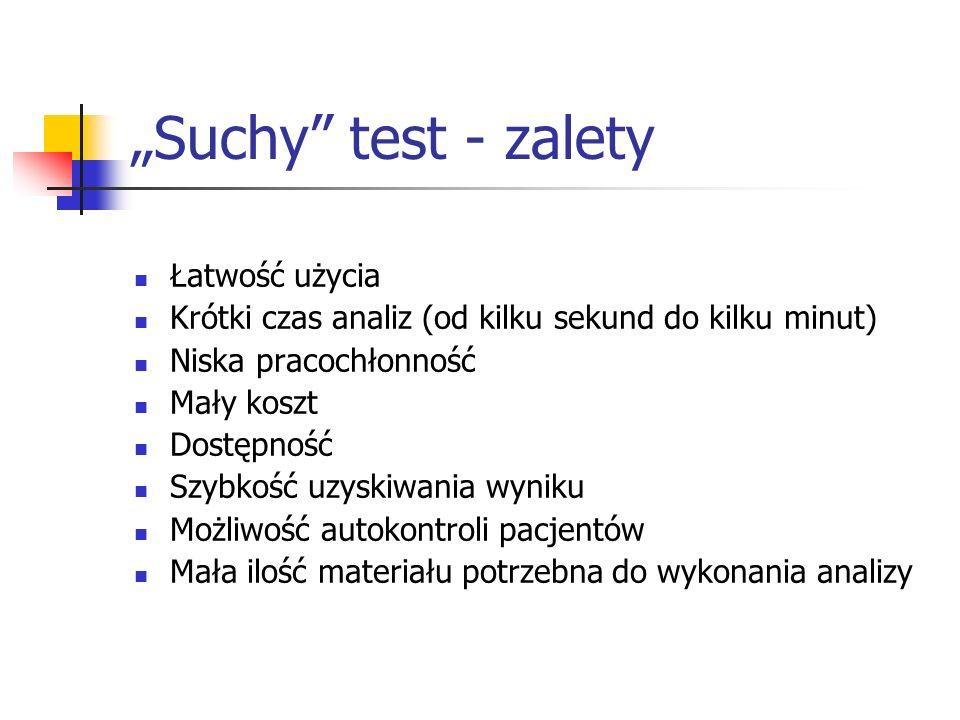 Suchy test - zalety Łatwość użycia Krótki czas analiz (od kilku sekund do kilku minut) Niska pracochłonność Mały koszt Dostępność Szybkość uzyskiwania