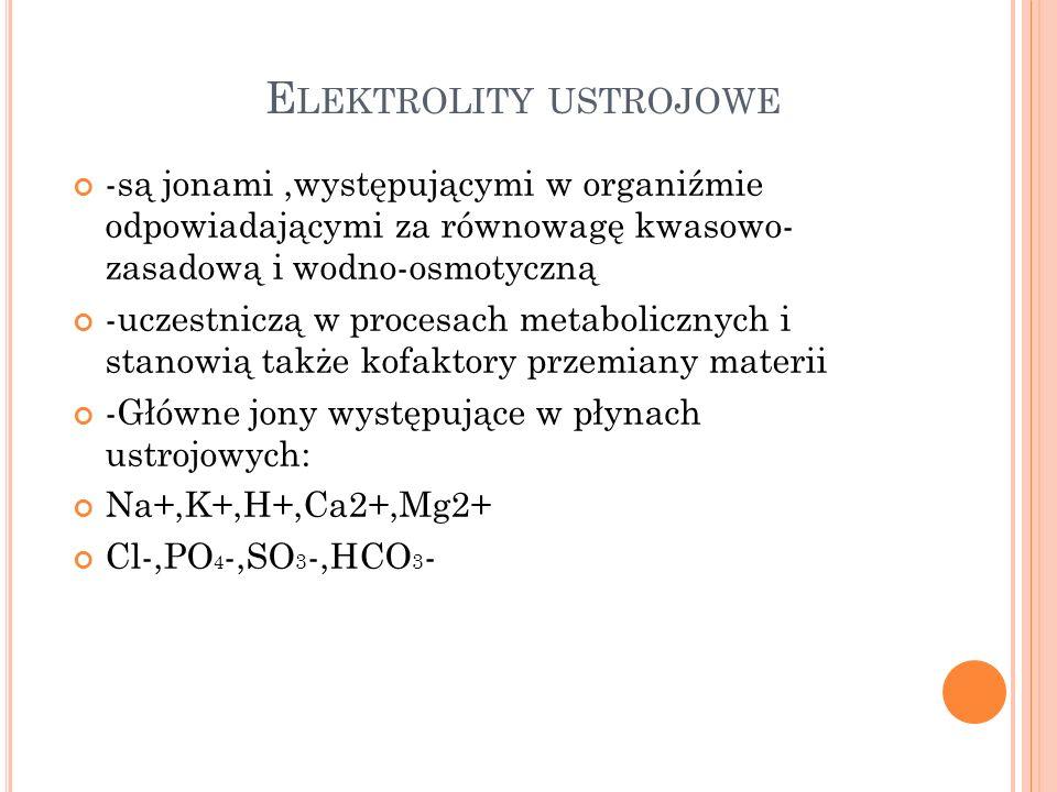 P ODSTAWOWE ELEKTROLITY PRZESTRZENI WODNYCH U CZŁOWIEKA ElektrolityPłyn pozakomórkowyPłyn wewnątrzkomó rkowy mmol/l Osocze mmol/l Śródmiąższowy mmol/l Kationy Na+142,0146,512,0 K+5.05,0140,0 Ca2+2,51,35,0 Mg2+1,0 30,0 Aniony Cl-102,0114,04,0 Wodorowęglany26,031,010,0 Siarczany0,5 3,8 Fosforany1,1 60,0 Kw.Organiczne~5,0~6,0zmienne