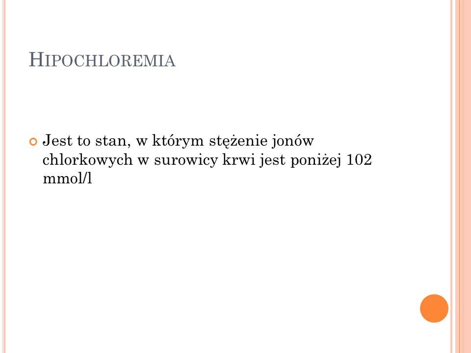 H IPOCHLOREMIA Jest to stan, w którym stężenie jonów chlorkowych w surowicy krwi jest poniżej 102 mmol/l