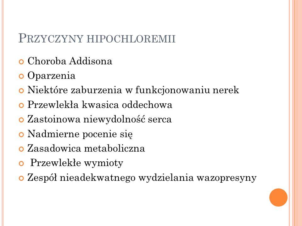 P RZYCZYNY HIPOCHLOREMII Choroba Addisona Oparzenia Niektóre zaburzenia w funkcjonowaniu nerek Przewlekła kwasica oddechowa Zastoinowa niewydolność se