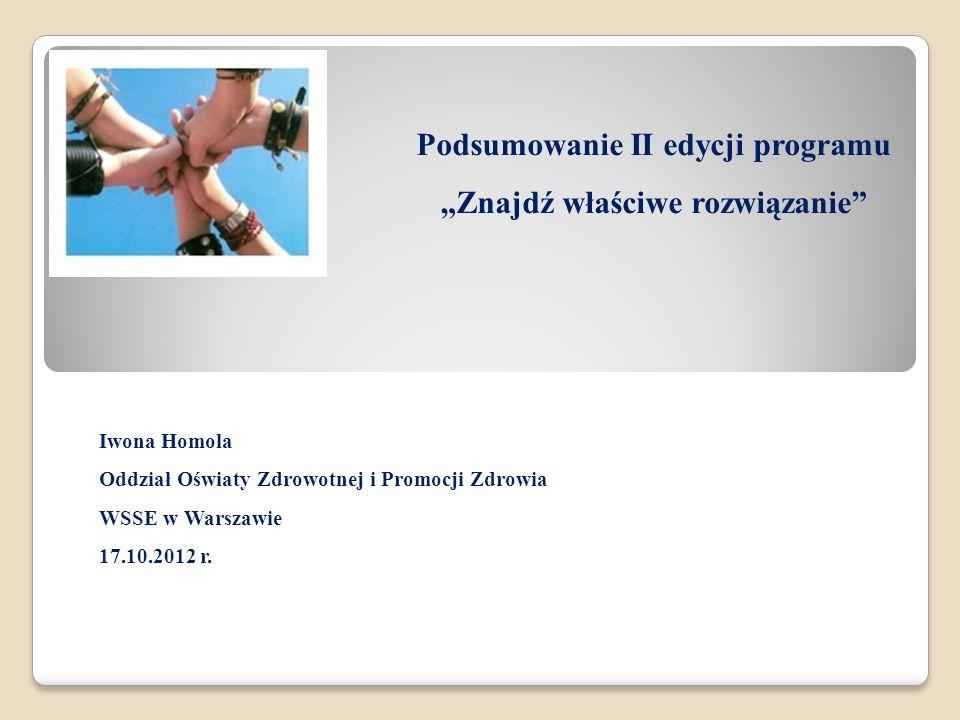 Podsumowanie II edycji programu Znajdź właściwe rozwiązanie Iwona Homola Oddział Oświaty Zdrowotnej i Promocji Zdrowia WSSE w Warszawie 17.10.2012 r.