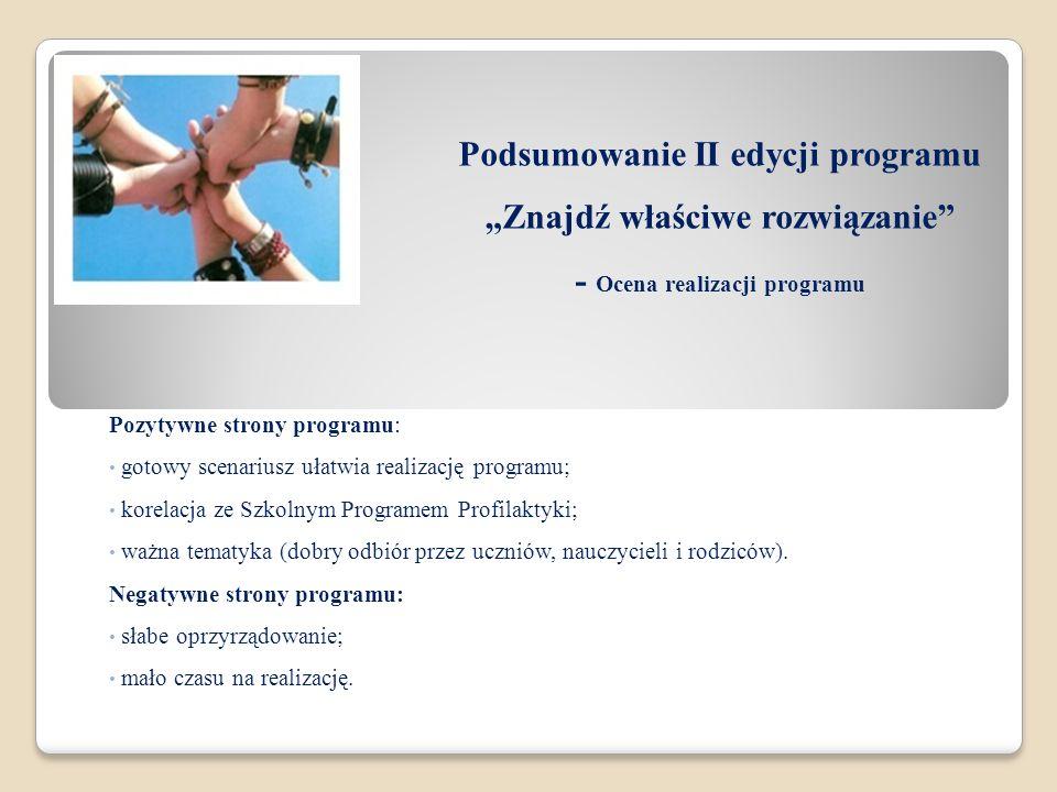 Podsumowanie II edycji programu Znajdź właściwe rozwiązanie - Ocena realizacji programu Pozytywne strony programu: gotowy scenariusz ułatwia realizacj