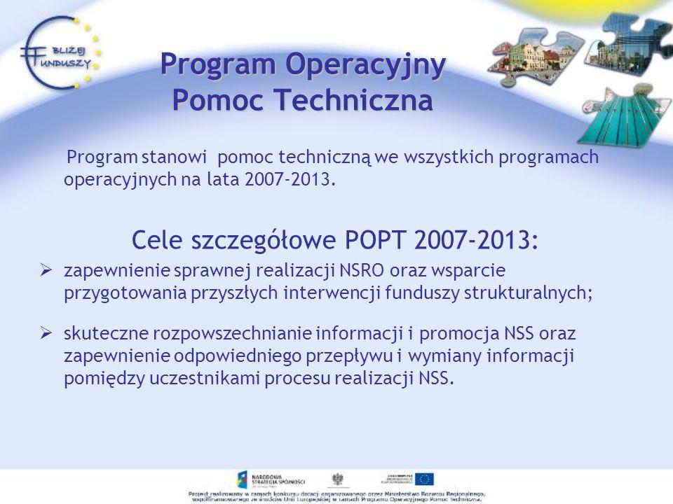Program Operacyjny Pomoc Techniczna Program stanowi pomoc techniczną we wszystkich programach operacyjnych na lata 2007-2013. Cele szczegółowe POPT 20