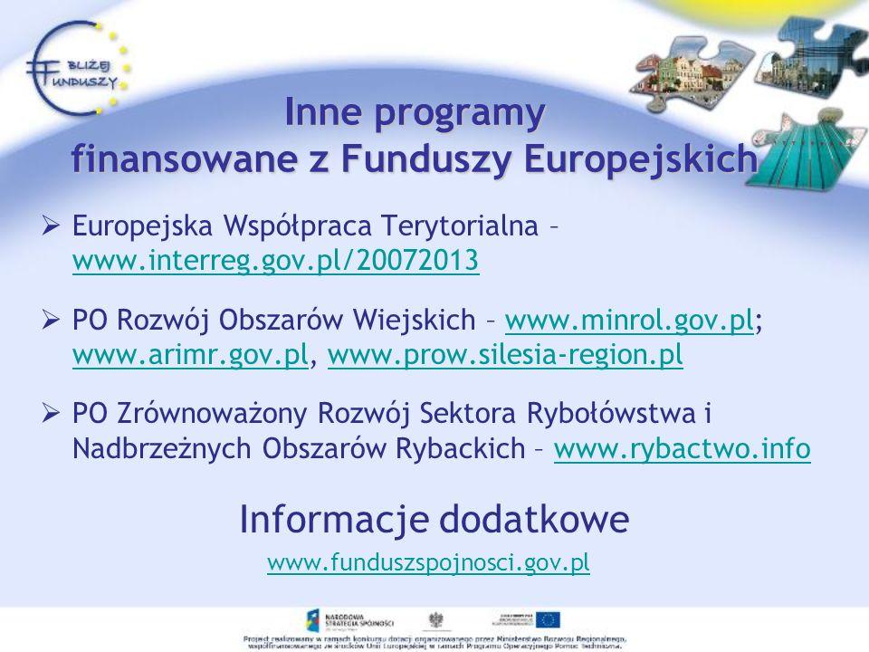 I nne programy finansowane z Funduszy Europejskich Europejska Współpraca Terytorialna – www.interreg.gov.pl/20072013 www.interreg.gov.pl/20072013 PO R