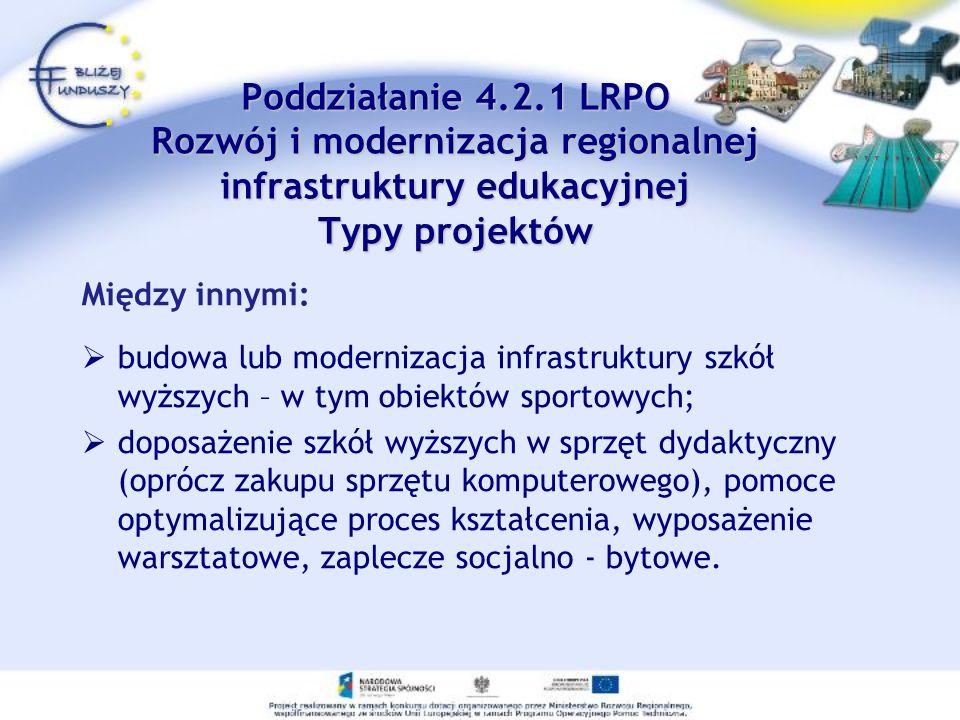 Poddziałanie 4.2.1 LRPO Rozwój i modernizacja regionalnej infrastruktury edukacyjnej Typy projektów Poddziałanie 4.2.1 LRPO Rozwój i modernizacja regi
