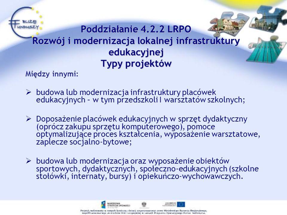 Poddziałanie 4.2.2 LRPO Rozwój i modernizacja lokalnej infrastruktury edukacyjnej Typy projektów Poddziałanie 4.2.2 LRPO Rozwój i modernizacja lokalne