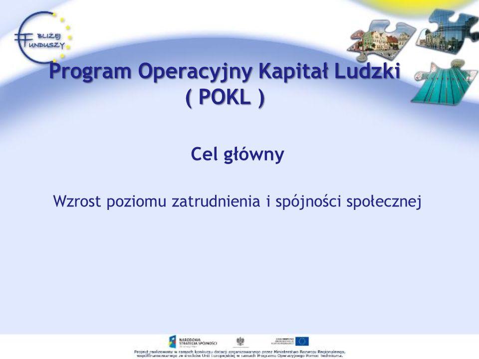Program Operacyjny Kapitał Ludzki ( POKL ) Cel główny Wzrost poziomu zatrudnienia i spójności społecznej