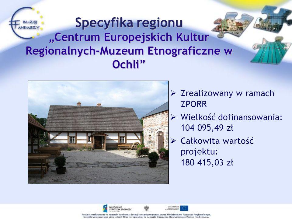 Zrealizowany w ramach ZPORR Wielkość dofinansowania: 104 095,49 zł Całkowita wartość projektu: 180 415,03 zł Specyfika regionu Centrum Europejskich Ku