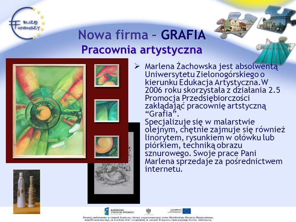 Nowa firma – GRAFIA Pracownia artystyczna Marlena Żachowska jest absolwentą Uniwersytetu Zielonogórskiego o kierunku Edukacja Artystyczna.W 2006 roku