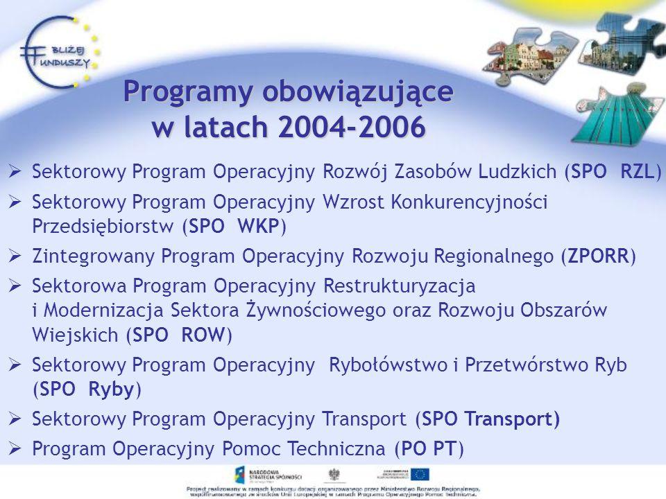 Programy obowiązujące w latach 2004-2006 Sektorowy Program Operacyjny Rozwój Zasobów Ludzkich (SPO RZL) Sektorowy Program Operacyjny Wzrost Konkurency