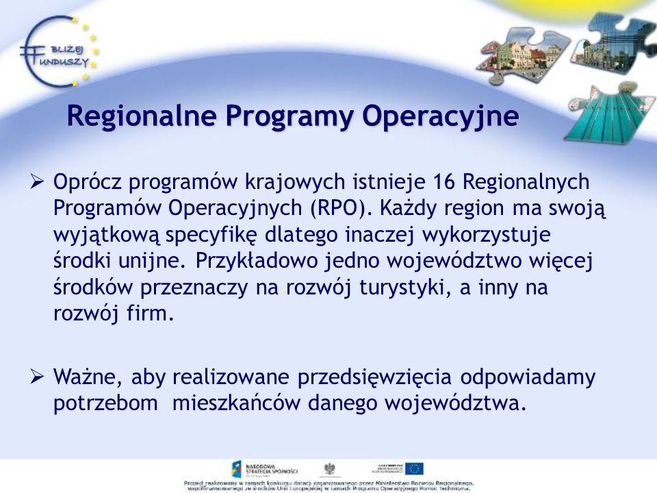 Regionalne Programy Operacyjne Oprócz programów krajowych istnieje 16 Regionalnych Programów Operacyjnych (RPO). Każdy region ma swoją wyjątkową specy