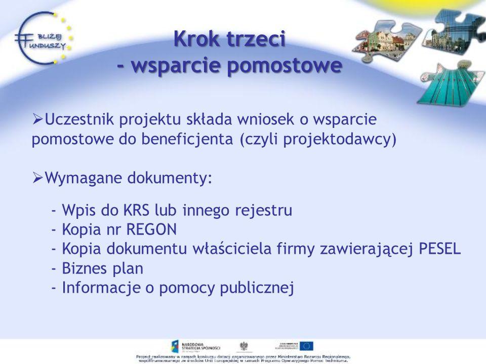 Uczestnik projektu składa wniosek o wsparcie pomostowe do beneficjenta (czyli projektodawcy) Wymagane dokumenty: - Wpis do KRS lub innego rejestru - K