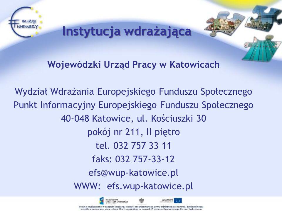 Instytucja wdrażająca Wojewódzki Urząd Pracy w Katowicach Wydział Wdrażania Europejskiego Funduszu Społecznego Punkt Informacyjny Europejskiego Fundus