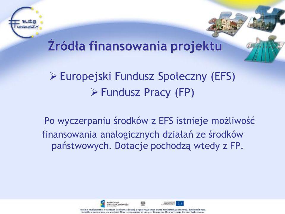 Źródła finansowania projektu Europejski Fundusz Społeczny (EFS) Fundusz Pracy (FP) Po wyczerpaniu środków z EFS istnieje możliwość finansowania analog
