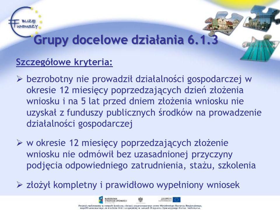 Grupy docelowe działania 6.1.3 Szczegółowe kryteria: bezrobotny nie prowadził działalności gospodarczej w okresie 12 miesięcy poprzedzających dzień zł