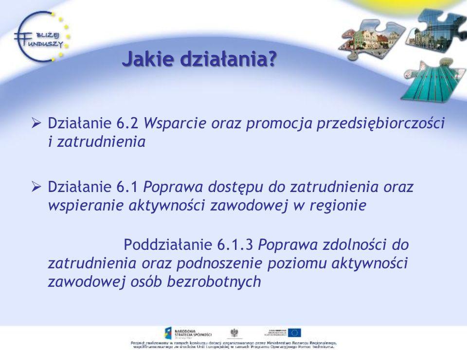 Jakie działania? Działanie 6.2 Wsparcie oraz promocja przedsiębiorczości i zatrudnienia Działanie 6.1 Poprawa dostępu do zatrudnienia oraz wspieranie
