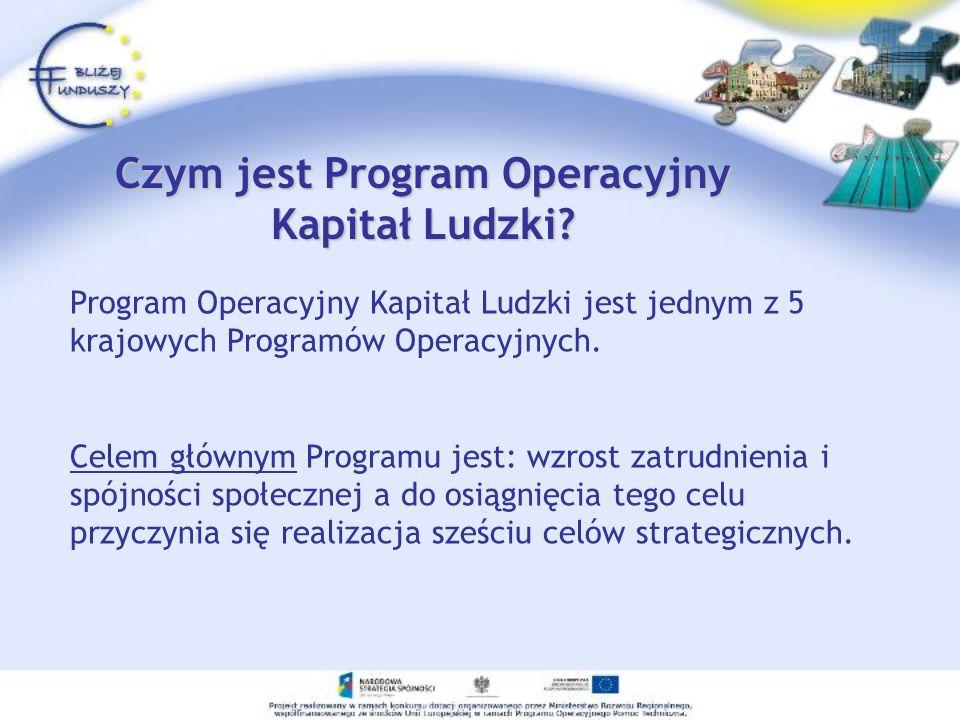 Program Operacyjny Kapitał Ludzki jest jednym z 5 krajowych Programów Operacyjnych. Celem głównym Programu jest: wzrost zatrudnienia i spójności społe