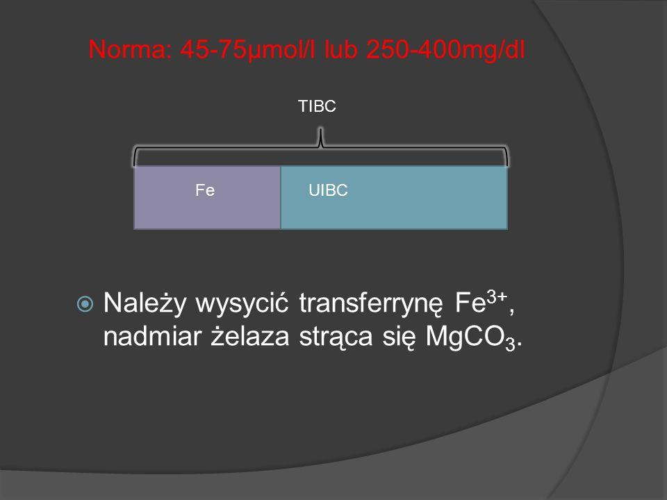 Należy wysycić transferrynę Fe 3+, nadmiar żelaza strąca się MgCO 3. Norma: 45-75µmol/l lub 250-400mg/dl FeUIBC TIBC
