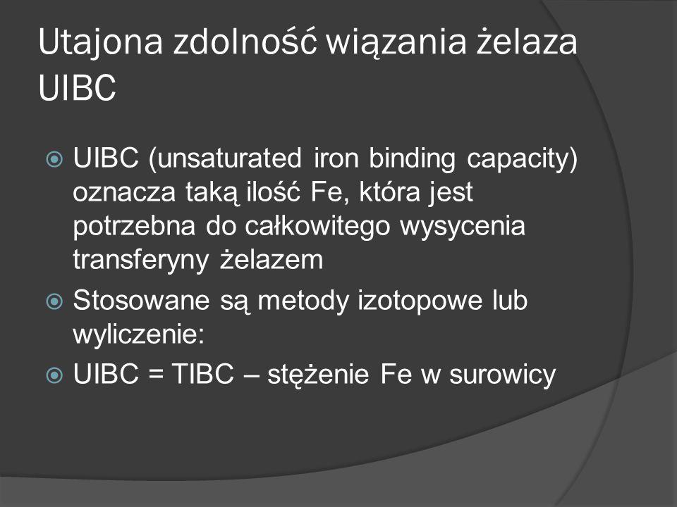 Utajona zdolność wiązania żelaza UIBC UIBC (unsaturated iron binding capacity) oznacza taką ilość Fe, która jest potrzebna do całkowitego wysycenia tr