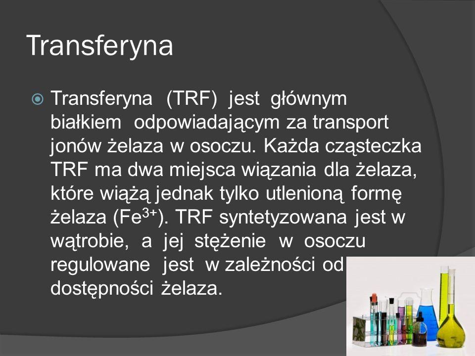 Transferyna Transferyna (TRF) jest głównym białkiem odpowiadającym za transport jonów żelaza w osoczu. Każda cząsteczka TRF ma dwa miejsca wiązania dl