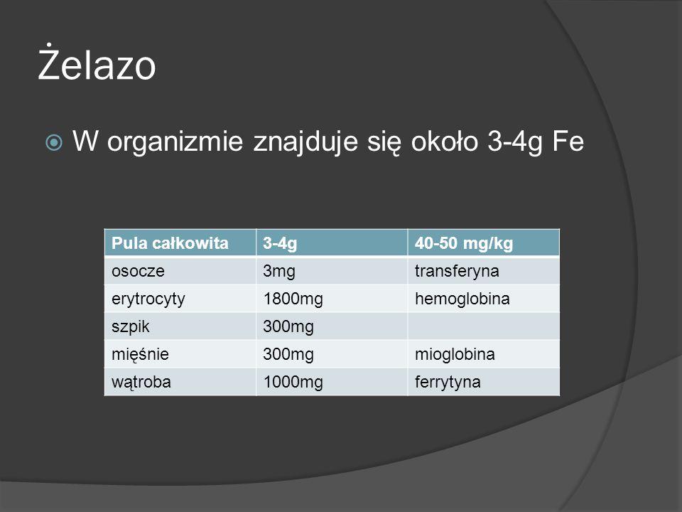 Żelazo W organizmie znajduje się około 3-4g Fe Pula całkowita3-4g40-50 mg/kg osocze3mgtransferyna erytrocyty1800mghemoglobina szpik300mg mięśnie300mgm