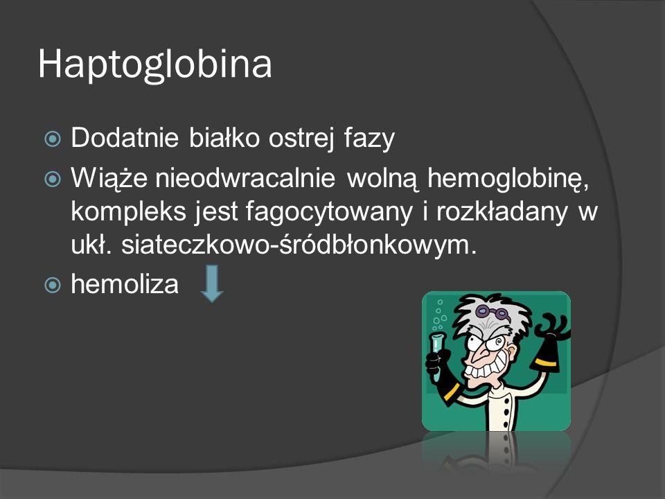 Haptoglobina Dodatnie białko ostrej fazy Wiąże nieodwracalnie wolną hemoglobinę, kompleks jest fagocytowany i rozkładany w ukł. siateczkowo-śródbłonko