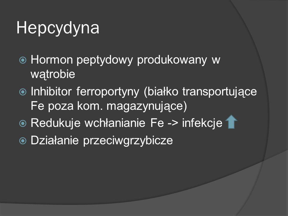 Hepcydyna Hormon peptydowy produkowany w wątrobie Inhibitor ferroportyny (białko transportujące Fe poza kom. magazynujące) Redukuje wchłanianie Fe ->