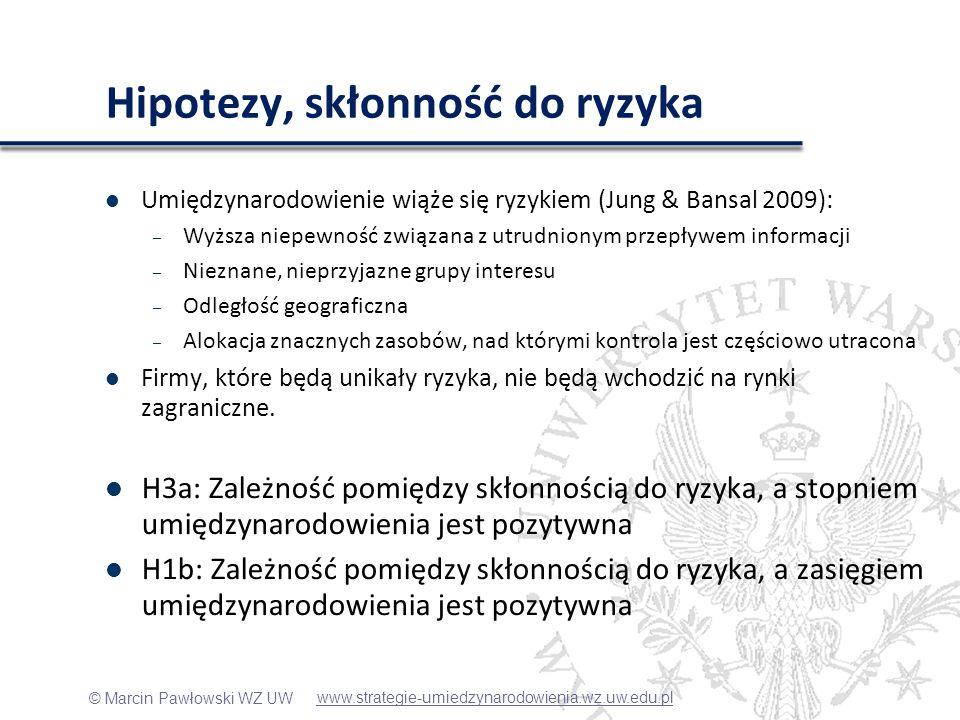 © Marcin Pawłowski WZ UW Hipotezy, skłonność do ryzyka Umiędzynarodowienie wiąże się ryzykiem (Jung & Bansal 2009): – Wyższa niepewność związana z utr