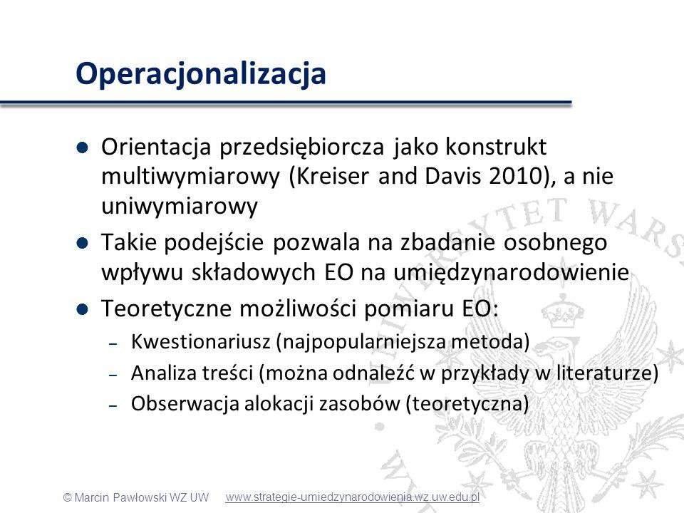 © Marcin Pawłowski WZ UW Operacjonalizacja Orientacja przedsiębiorcza jako konstrukt multiwymiarowy (Kreiser and Davis 2010), a nie uniwymiarowy Takie