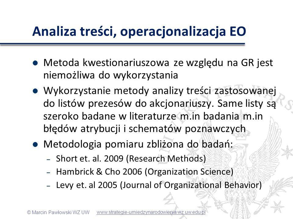 © Marcin Pawłowski WZ UW Analiza treści, operacjonalizacja EO Metoda kwestionariuszowa ze względu na GR jest niemożliwa do wykorzystania Wykorzystanie