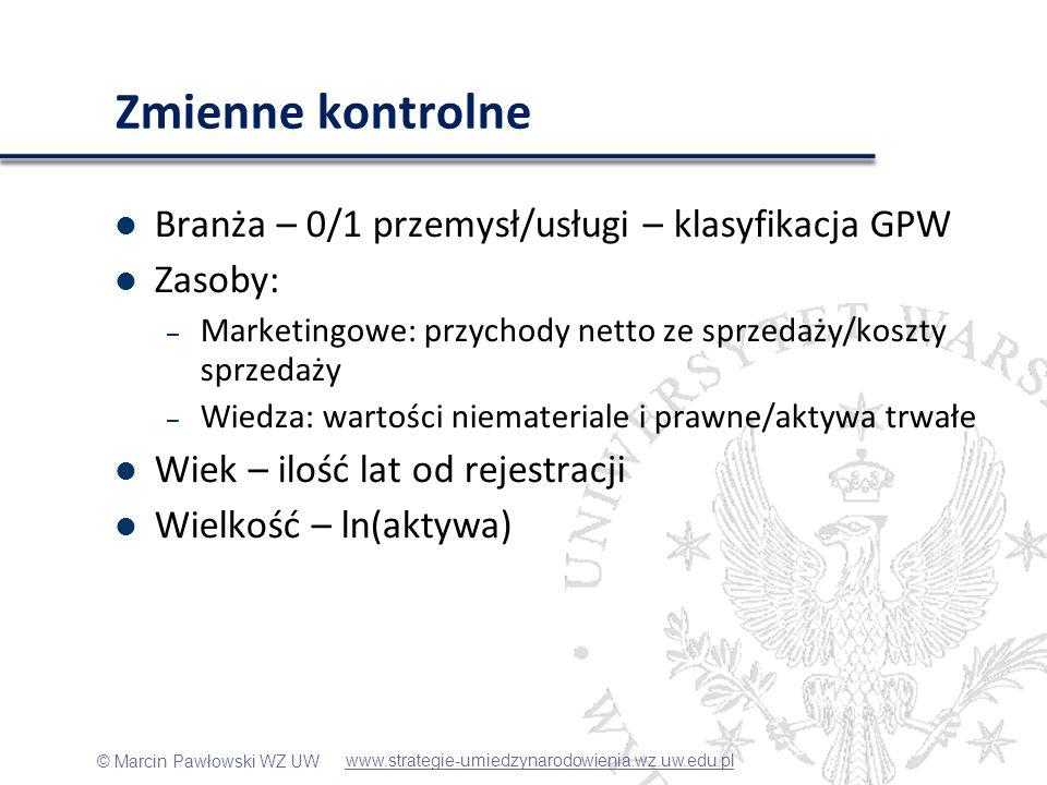 © Marcin Pawłowski WZ UW Zmienne kontrolne Branża – 0/1 przemysł/usługi – klasyfikacja GPW Zasoby: – Marketingowe: przychody netto ze sprzedaży/koszty