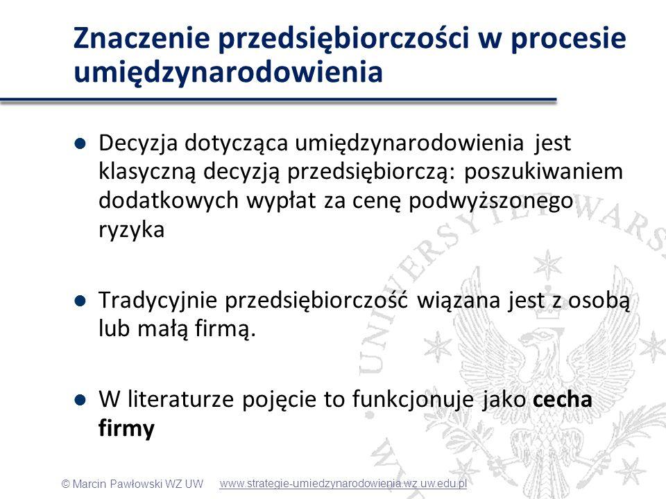 © Marcin Pawłowski WZ UW Dyskusja Zupełnie inny wynik otrzymano badając wpływ proaktywności, która jest negatywnie związana z zasięgiem umiędzynarodowienia – Proaktywność jest zasobochłonna, zatem firmy, które podjęły wysiłek umiędzynarodowienia kapitałowego nie będą już miały zasobów na dalsze działania tego typu – Polska jest dużym rynkiem, który jeszcze być może nie jest do końca zagospodarowany, firmy proaktywne będą więc poszukiwać szans na rynku lokalnym, nie będą postrzegać umiędzynarodowienia w kategoriach szansy www.strategie-umiedzynarodowienia.wz.uw.edu.pl