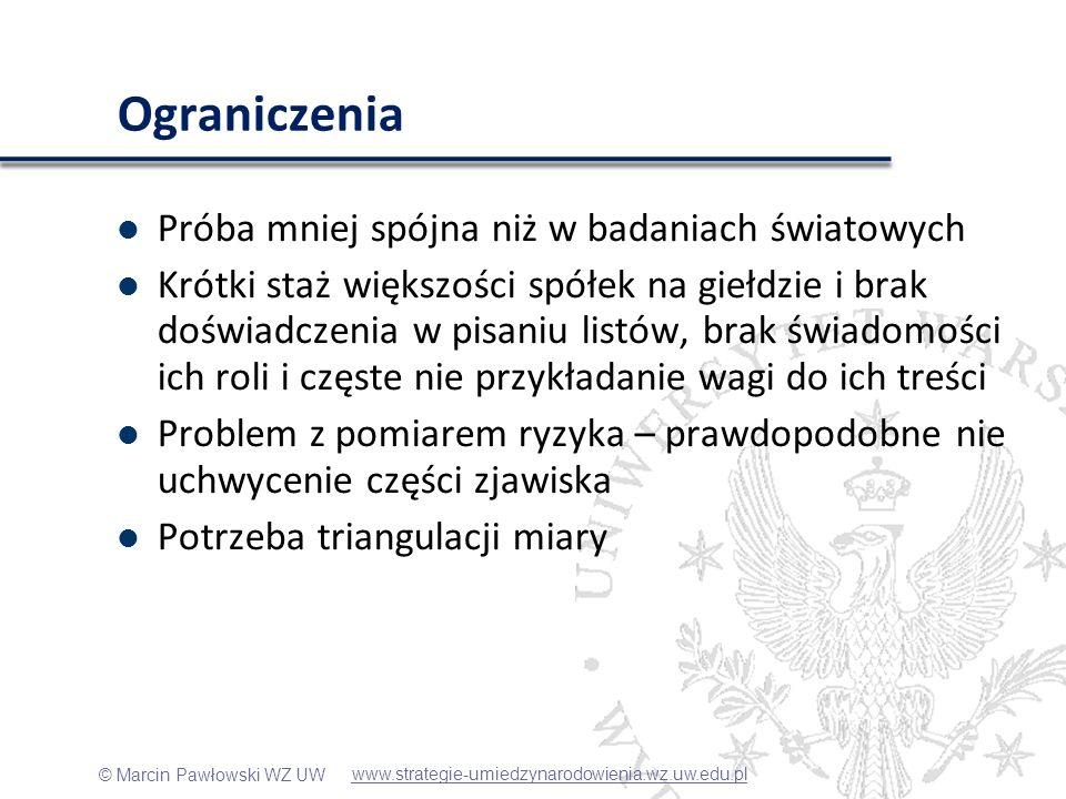 © Marcin Pawłowski WZ UW Ograniczenia Próba mniej spójna niż w badaniach światowych Krótki staż większości spółek na giełdzie i brak doświadczenia w p