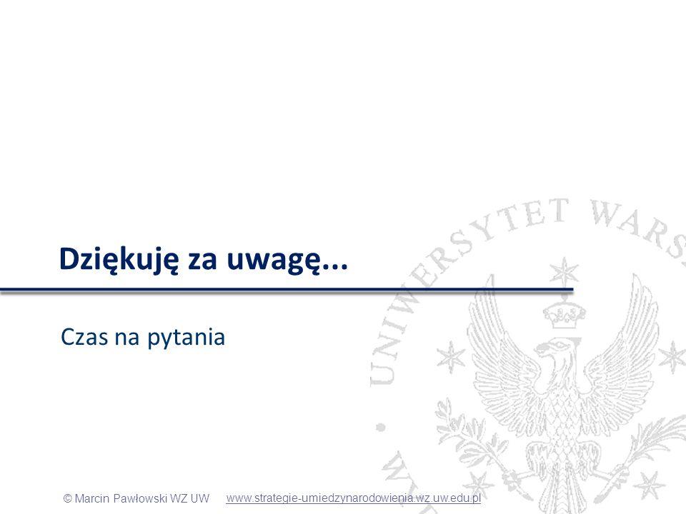© Marcin Pawłowski WZ UW Dziękuję za uwagę... Czas na pytania www.strategie-umiedzynarodowienia.wz.uw.edu.pl
