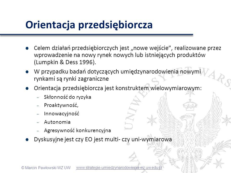 © Marcin Pawłowski WZ UW Zmienne kontrolne Branża – 0/1 przemysł/usługi – klasyfikacja GPW Zasoby: – Marketingowe: przychody netto ze sprzedaży/koszty sprzedaży – Wiedza: wartości niemateriale i prawne/aktywa trwałe Wiek – ilość lat od rejestracji Wielkość – ln(aktywa) www.strategie-umiedzynarodowienia.wz.uw.edu.pl